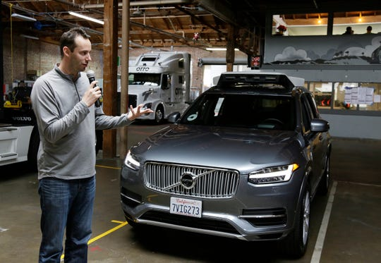In this Dec. 13, 2016, file photo, Anthony Levandowski, head of Uber's self-driving program, speaks about their driverless car in San Francisco. The former Google engineer is being charged with stealing closely guarded secrets that he later sold to Uber as the ride-hailing service scrambled to catch up in the high-stakes race to build robotic vehicles.