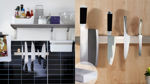 Magnetic knife bars look sleek and save oodles of space.