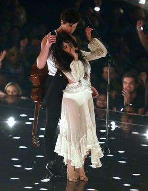 "Camila Cabello and Shawn Mendes perform ""Senorita"" at the MTV Video Music Awards on Monday."