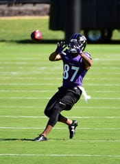 Baltimore Ravens wide receiver Joe Horn Jr. (87) catches a pass during minicamp at Under Armour Performance Center.
