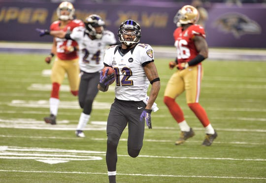 Jacoby Jones scored two touchdowns in the Ravens' win in Super Bowl XLVII.
