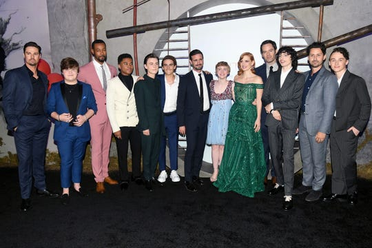 """It Chapter Two"" cast from left: Jay Ryan, Jeremy Ray Taylor, Isaiah Mustafa, Chosen Jacobs, Jaeden Martell, Jack Dylan Grazer, James Ransone, Sophia Lillis, Jessica Chastain, Bill Hader, Finn Wolfhard, Andy Bean and Wyatt Oleff."