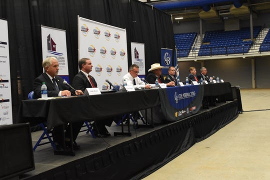 Eight candidates for Rapides Parish sheriff participated in a debate Tuesday evening sponsored by the Greater Central Louisiana Realtors Association, Cenla Broadcasting and the Central Louisiana Chamber of Commerce at the Rapides Parish Coliseum.