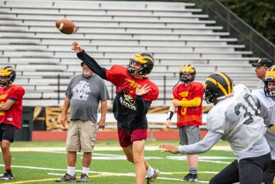 QB C. J. Duell unleashes a pass. St. John Vianney held a football practice Wednesday, August 28, 2019, at their school in Holmdel. /Russ DeSantis for the Asbury Park Press