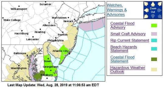 High tides may bring coastal flooding Wednesday and Thursday.
