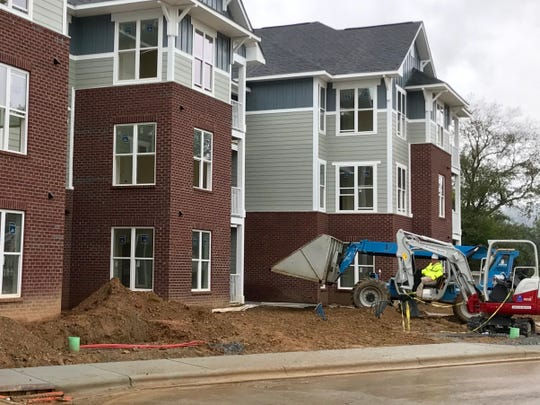 These new apartments in the Town of Fletcher, the Groves at Town Center, are in the process of opening. While Asheville's growth rate is slowing, towns like Fletcher continue to show strong growth as residents seek more affordable housing still within commuting distance of Asheville.