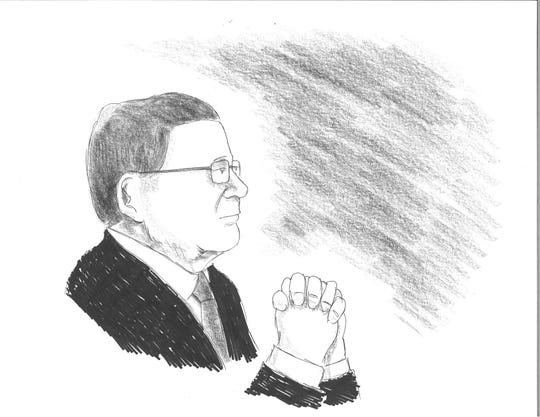 Prosecutor Richard Edwards is depicted in this illustration by David Cohen during sentencing of Buncombe County government officials Aug. 28, 2019, at the Federal Courthouse in Asheville.