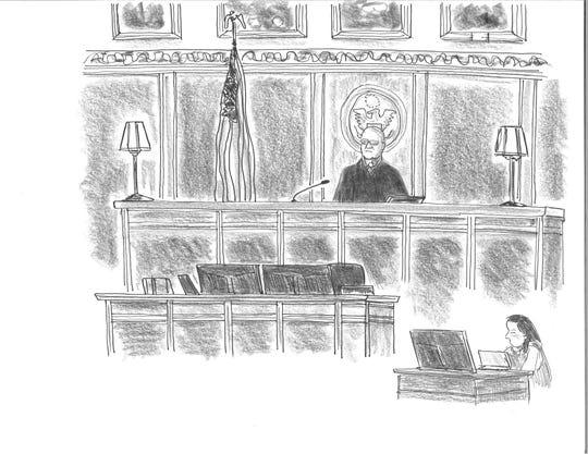 Judge Robert Conrad presides over sentencing of Buncombe County government officials Aug. 28, 2019, at the Federal Courthouse in Asheville in this illustration by David Cohen.