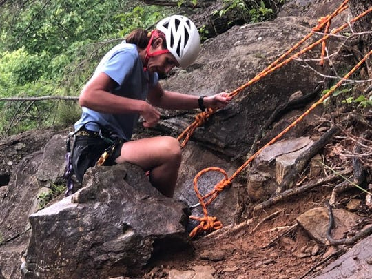 "Michele Hobson practices her rope work. She'll compete in an epic 12-day race through Fiji hosted by Bear Grylls of ""Man vs. Wild"" fame."