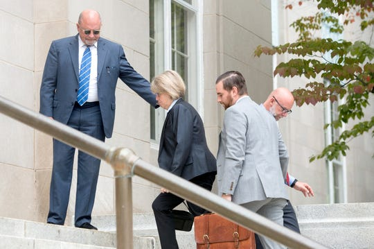 Former Buncombe County manager Mandy Stone arrives at the Federal Courthouse in Asheville for her sentencing on August 28, 2019.