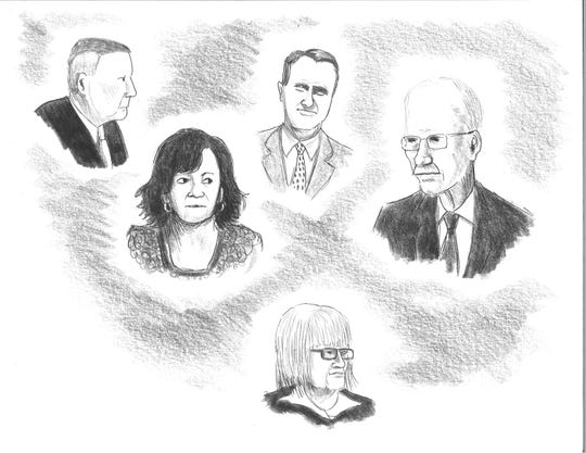 Clockwise from left, Joe Wiseman, Wanda Greene, Michael Greene, Jon Creighton and Mandy Stone are in the courtroom for their sentencing hearing in a sweeping Buncombe County corruption case Aug. 28, 2019, in this illustration by David Cohen.