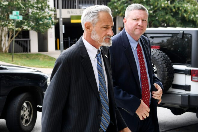 Contractor Joe Wiseman arrives at the federal courthouse for his sentencing in Asheville August 28, 2019.