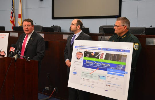 State Rep. Randy Fine, Brevard County Commissioner Bryan Lober and Brevard County Sheriff Wayne Ivey hold a joint press conference Wednesday at the Government Center in Viera to discuss accusations of online identity theft.