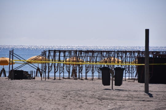 The scaffolding at the pier was in place to be set up by the pier, as organizers for the Rich Salick Surf Festival were waiting to see waiting to see what Dorian was going to do. The event has been postponed to Oct. 12-14th.