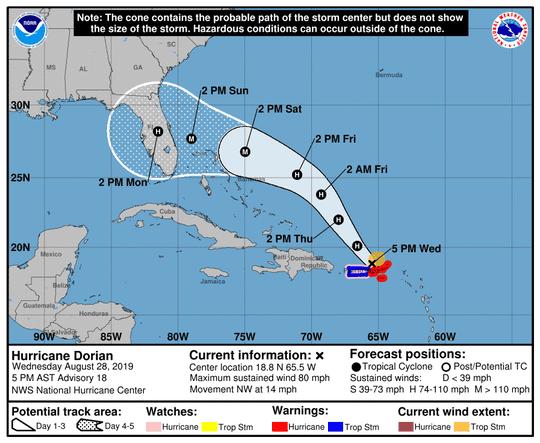 Hurricane Dorian 5 p.m. Wednesday, Aug. 28