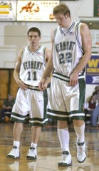 Taylor Coppenrath, right, and T.J. Sorrentine will have their jerseys -- No. 22 and No. 11 -- officially retired by the UVM men's basketball team on Oct. 26 during an exhibition vs. Brown. Sorrentine is the associate head coach at Brown.