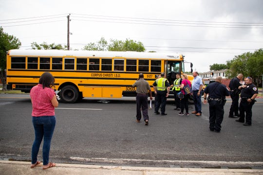 Corpus Christi police work an accident on Aug. 28, 2019 in which an 11-year-old girl was struck by a school bus near Ray High School.