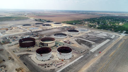 EPIC constructs 19 oil storage tanks on property in the Calallen area of Corpus Corpus on Wednesday, Aug. 28, 2019.