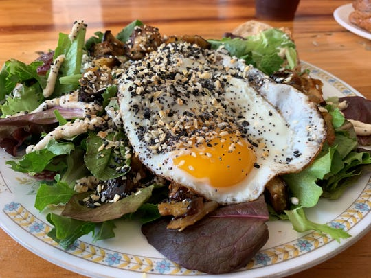 Sure, you can visit Constellation Collective and feast on yummy scones, hand pies or brownies, but you can also eat a Breakfast Salad. The ingredients change depending on the harvest and bacon or egg are optional.