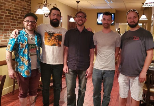 Ryan Middleton (center) is taking the lead in planning this year's Merchantville Music Fest. He's getting help from a volunteer production team that consists of Ray Finkle (from left), Steve Kocher, Matt Suttin and Jon Hoffman.