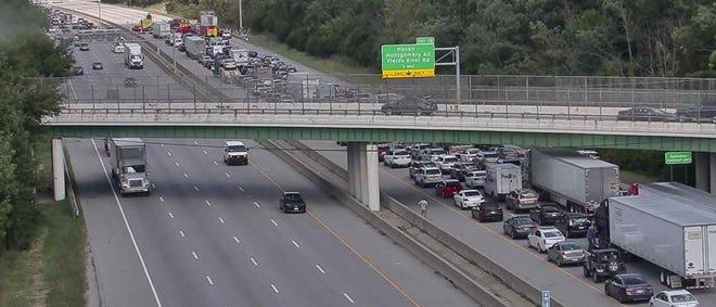 A crash blocked northbound Interstate 71 Wednesday afternoon.