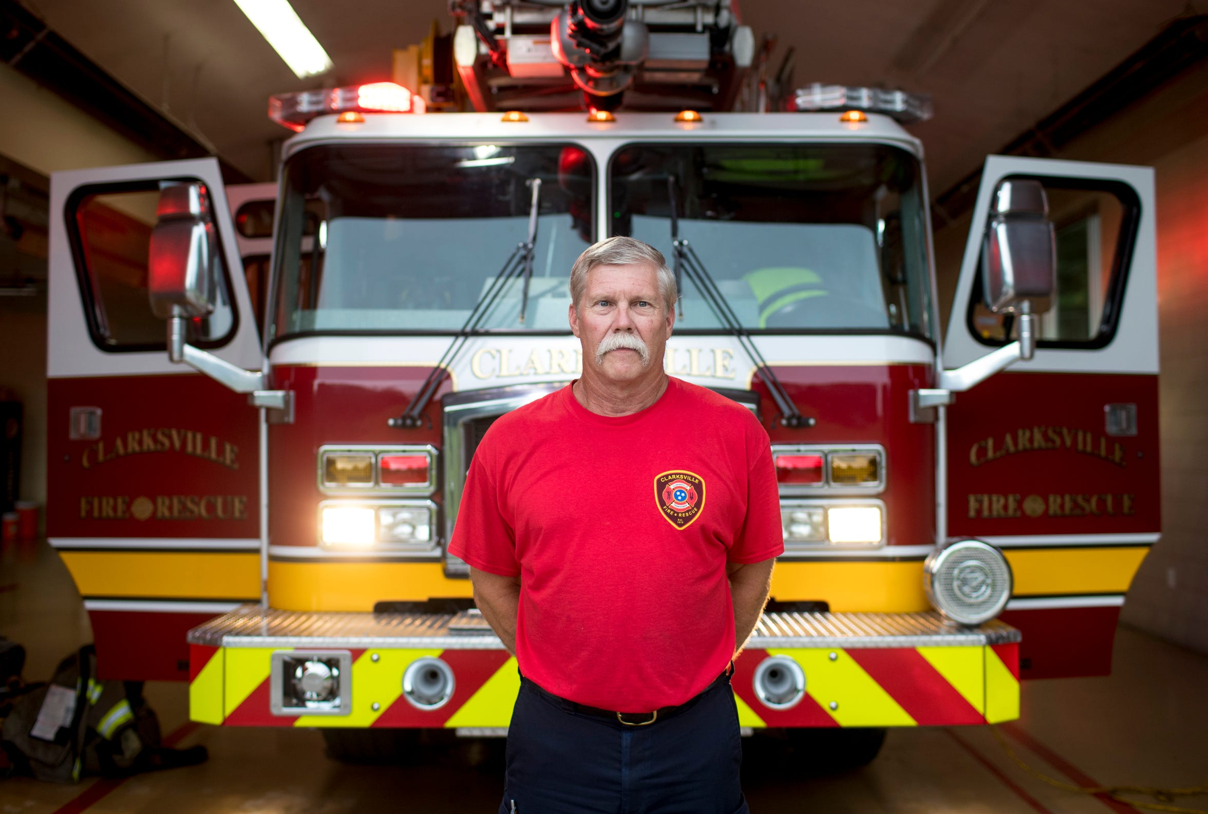 Clarksville Fire Lt. Billy Castle, who is set to retire later this year after over 30 years of service, stands in front of an engine at the end of his shift at Clarksville Fire Station 6 on Aug. 23, 2019.