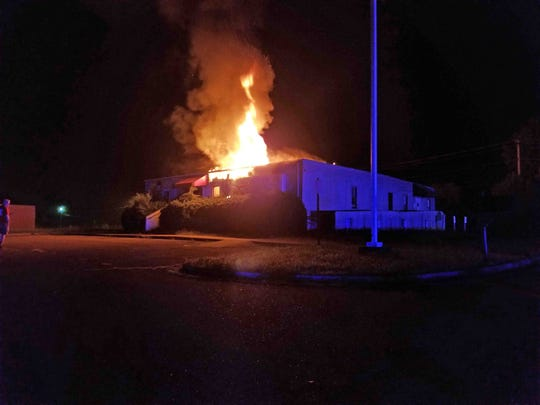 The Orusa pain clinic at 216 Stonecrossing Drive burns early Tuesday morning, Aug. 28, 2019.