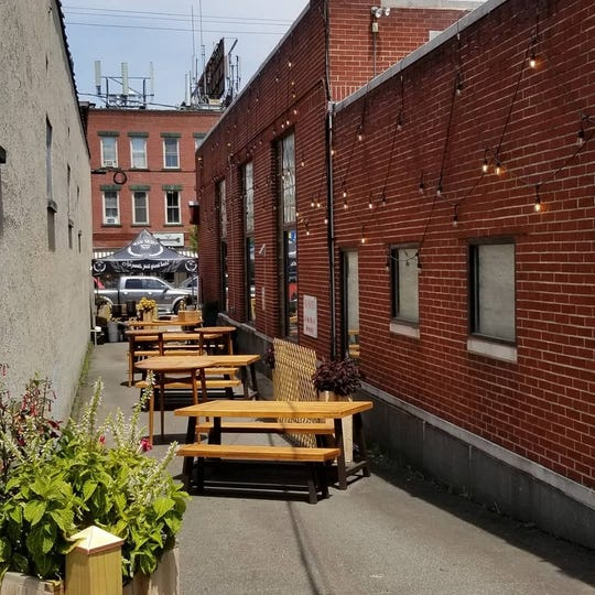 The outdoor area at Man Skirt Brewing.