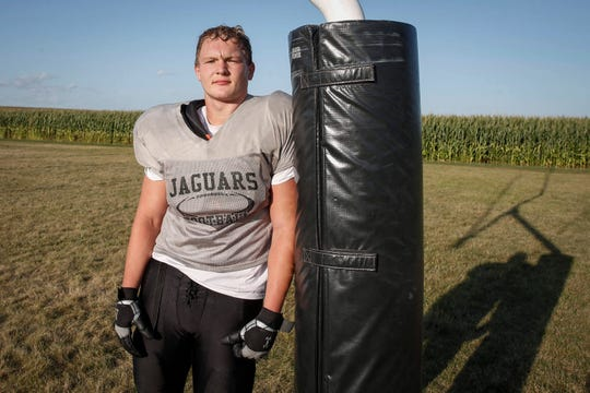 Southeast Valley sophomore Aaron Graves poses for a photo after practice in Gowrie on Tuesday, Aug. 27, 2019. Graves became one of the youngest players to commit to the Hawkeyes when he made the decision in June.