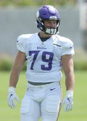 Minnesota Vikings defensive end Karter Schult, who played at the University of Northern Iowa, takes part in drills during the NFL football team's training camp Monday, July 29, 2019, in Eagan, Minn.