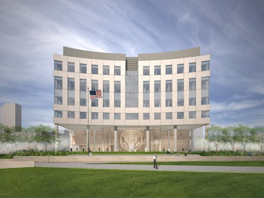 This rendering shows a view of the approved concept design for the new federal courthouse in Des Moines from the riverfront side.