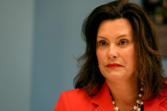Governor Gretchen Whitmer talks to members of the Detroit Free Press editorial board during a meeting at the newspaper in Detroit on Tuesday, Aug. , 27, 2019.
