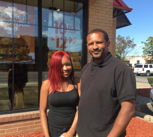 Reginald Bennett and daughter Danae Bennett hoped to get a chicken sandwich at Popeyes on Woodward in Detroit.