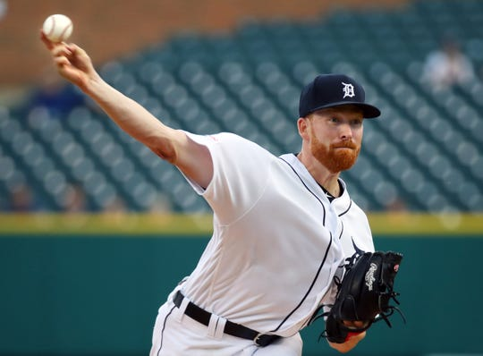 Spencer Turnbull #56 of the Detroit Tigers pitches against the Cleveland Indians during the first inning at Comerica Park on Tuesday, August 27, 2019 in Detroit, Michigan.