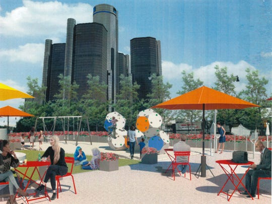 A rendering of Spirit Plaza in Detroit.