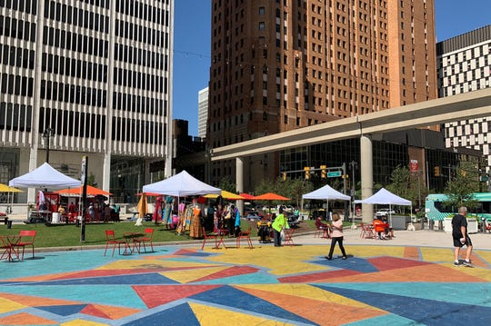 Renovations at Downtown DetroitÕs Spirit Plaza, at the corner of Woodward Avenue and East Jefferson Avenue, will begin Sept. 4, city officials announced on Aug. 28, 2019. The updates will include the removal of the Woodward median, a new performance stage and a playground. Construction will last through the month of September and will be paid for with $800,000 in existing city bond funds.