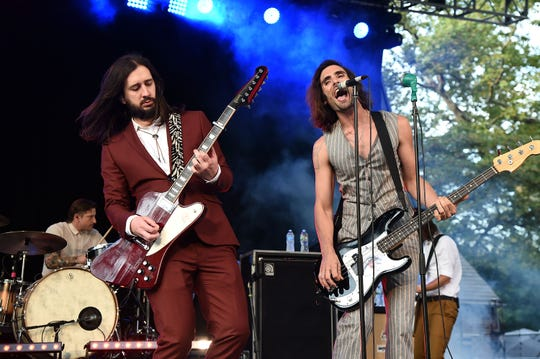 Nick Wheeler and Tyson Ritter of the All-American Rejects perform at Rumsey Playfield, Central Park on Aug. 3, 2017, in New York City.