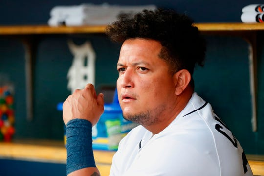 Detroit Tigers designated hitter Miguel Cabrera (24) sits in dugout in the first inning against the Cleveland Indians at Comerica Park in Detroit, Tuesday, Aug. 27, 2019.