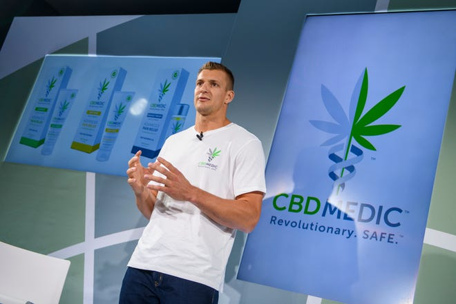 Former Patriots tight end Rob Gronkowski holds a news conference announcing his advocacy for CBD and becoming an investor in Abacus Health Products, the maker of CBDMEDIC.