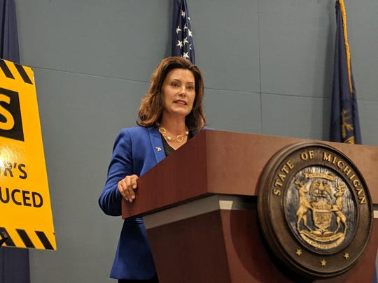 Gov. Gretchen Whitmer discusses the ongoing budget impasse on Aug. 28, 2019.