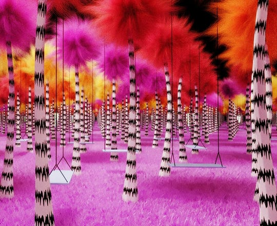 "This undated rendering provided by Dr. Seuss Enterprises shows a grove of Truffula trees, from Seuss' book ""The Lorax."""