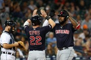 Cleveland Indians' Franmil Reyes celebrates his three-run home run in the seventh inning Tuesday.