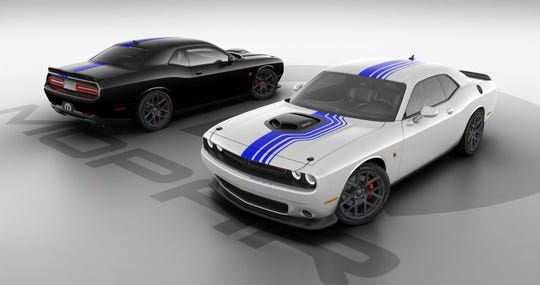 "The Mopar '19 Dodge Challenger muscle car is painted in Pitch Black (left) or White Knuckle. Based on the 485-horse Challenger R/T Scat Pack, the Mopar Challenger is festooned with Mopar Blue-striped tattoos around a ""Shaker"" hood scoop."