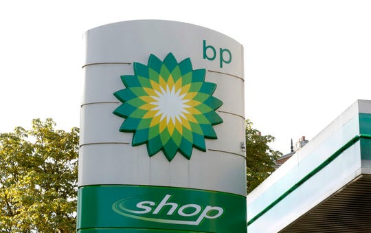 FILE - This Aug. 1, 2017, file photo shows the oil producer BP company logo at a petrol station in London.  BP, a major player on Alaska's North Slope for decades, is selling all of its Alaska assets, the company announced Tuesday, Aug. 27, 2019. Hilcorp Alaska is purchasing BP interests in both the Prudhoe Bay oil field and the trans-Alaska pipeline for $5.6 billion, BP announced in a release.