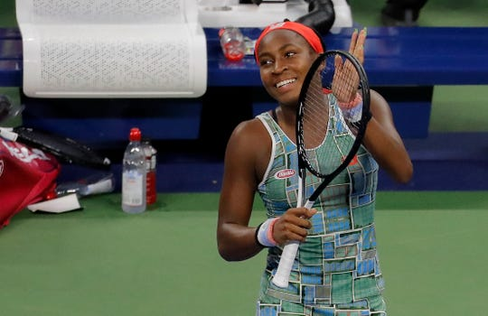 Coco Gauff, of the United States, reacts after defeating Anastasia Potapova, of Russia, during the first round of the US Open tennis tournament Tuesday in New York.