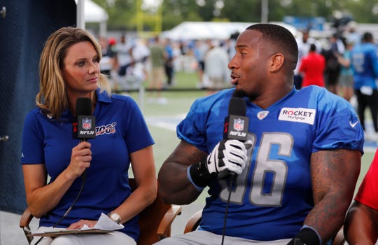 Mike Daniels is interviewed by NFL Network anchor Stacey Dales.
