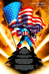 This image provided by Marvel Comics shows a page devoted to 1944 from Marvel Comics #1000, the publisher's 80th anniversary issue. The issue goes on sale Wednesday, Aug. 28, 2019, and features a page devoted to each year of Marvel's history through panels that explore its superheroes, like Captain America.