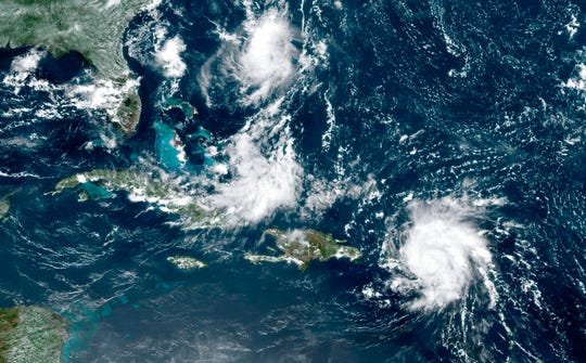 This GOES-16 satellite image taken Wednesday, Aug. 28, 209, at 17:20 UTC and provided by National Oceanic and Atmospheric Administration (NOAA), shows Dorian, a Category 1 hurricane, crossing over the U.S. and British Virgin Islands. Forecasters say it could grow to Category 3 status as it nears the U.S. mainland as early as the weekend.