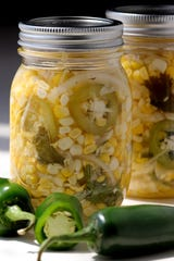 Jalapeño-cilantro pickled corn.
