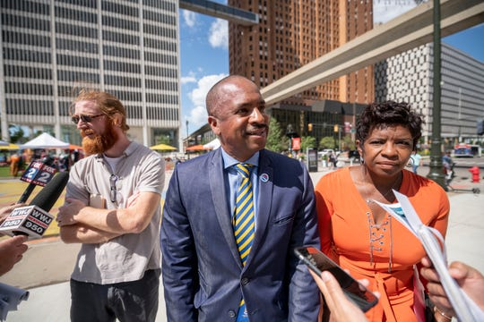 City landscape architect John DeRuiter, from left, Detroit CouncilmanScott Benson and Parks and Recreation special events manager Erica Hill speak to the media during a press conference Wednesday about the improvements planned for Spirit Plaza.
